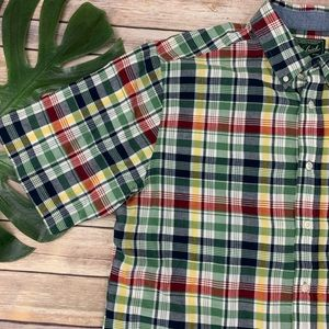 Woolrich Shirts - Woolrich men's green red plaid button down shirt